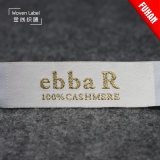 Mayorista de fábrica 100% poliéster Camiseta Etiquetas Etiquetas tejidas de oro