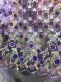 Tela líquida do laço das vendas quentes com tela graciosa das flores dos grânulos 3 D para Wedding o vestido de /Party