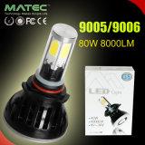 Par 80W / 8000lm LED Faro para vehículos de 9005/9006 con el tubo de color / 6000k Blanco Amarillo / Azul