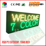 "P13 Totalmente ao ar livre 15''x 40 ""Full Color Programmable LED Sign Text Scrolling Display da placa de mensagens para a janela"