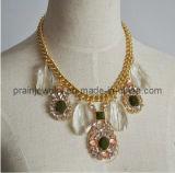 La primavera, las cadenas de moda collar chapado en oro amarillo con cristal blanco de color amarillo