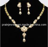 La primavera de cadenas de moda collar amarillo Peral pendientes chapado en oro de aleación de zinc ecológicos