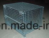 Apilable Doblado de alambre de malla de contenedores con tapa