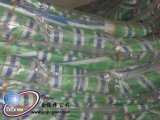 청록색 백색 줄무늬 방수포