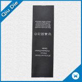 Escritura de la etiqueta negra de encargo de la tela de la impresión de la escritura de la etiqueta de la cinta del satén para la ropa