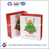 Papier laminé brillant Art joyeux Noël Shopping sac de papier cadeau