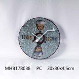 Запись дизайн металлической стенки часы в серебристый корпус