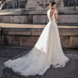 Cape Sleeves Bridal Gown Laces V-Neck A-Line Wedding Dress Z3035