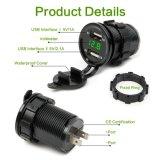 12V de dubbele Digitale Voltmeter Meter+30mm HSS van de Contactdoos van de Aansteker van de Adapter van de Lader van de Auto van de Auto USB Elektronische +LED