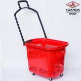 Корзина для товаров завальцовки супермаркета пластичная с 4 колесами