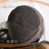 Peluca delantera superior de seda del cordón del negro de jet del pelo de la Virgen (pgp-l-0543)