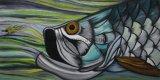 Commerce de gros à la main de la vie marine fish huile peintures sur toile pour la décoration d'accueil