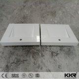 Weißes Badezimmer-festes Oberflächenfreistehendes Steinbassin