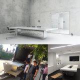 Tableau exécutif de marbre blanc de salle de réunion de Corian de qualité de luxe avec des plots