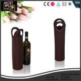 Design prático e artesanais personalizadas de couro preto Saco de vinho na China (5604)