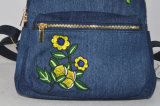 Più nuova signora Fashion Embroidery Jean Backpack