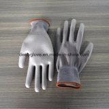 Поставка фабрики работая серые покрынные PU перчатки работы для ремонта телефона