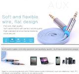 câble sonore stéréo aux. 3m de nouille plate de 3.5mm M/M