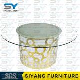 ステンレス製の家具LED表の緩和されたガラスの上のダイニングテーブル