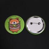 Impresos personalizados ronda prendedor insignia de estaño con pasador de seguridad para la promoción