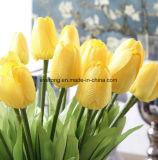 Tulipano di seta del fiore artificiale del fiore del tulipano giallo artificiale dei fiori artificiali mini con i fogli