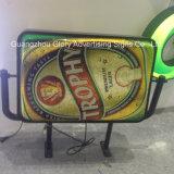 Двойник встает на сторону знак тавра пива и акриловая коробка СИД светлая