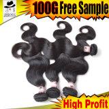 Cheveux humains réels des extensions malaisiennes du cheveu 7A