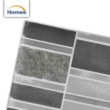 Azulejo de mosaico de piedra de cristal gris aplicado con brocha vendedor caliente de la tira superficial