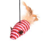 羽および明るい絹猫の棒猫のおもちゃ