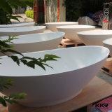 Kingkonreeの黒い無光沢の樹脂の石の自由で永続的な楕円形の浴槽