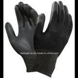 Перчатки работы покрытия PU раковины горячего надувательства защитные черные Nylon