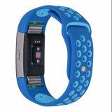 Doppeltes Farben-Silikon-Uhrenarmband für Abwechslungs-Band-Brücken der Fitbit Ladung-2