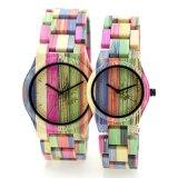 유일한과 형식 성격 Handmade 여자 크기 석영 다채로운 새겨진 대나무 손목 시계