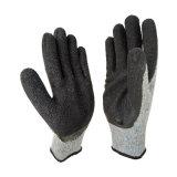 """10g серого хлопка гильзы латексные перчатки рабочие перчатки с покрытием из латекса черного цвета дешевые """"мятым"""" эффектом Латексные перчатки"""
