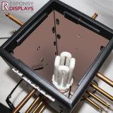 Cuatro caras de gama alta modernas metal y escaparate giratorio de la visualización de la encimera de madera con el LED para Glassess
