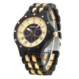 La vente de bois chaud regarder avec l'érable 100% naturelle du bois d'Ébène Handmade Fashion les montres à quartz pour les hommes