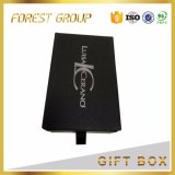 Rectángulo de regalo negro mate del cajón con la cinta