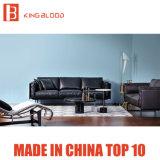 Italienische Art-Schwarz-Farben-Oberseite-Korn Nappa echtes Leder-Sofa-Couch für Wohnzimmer