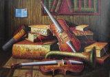 Pittura a olio classica della chitarra dello strumento musicale per la decorazione domestica