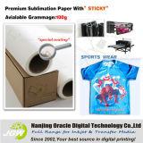 105gsm Sticky Transferencia por sublimación de rollo de papel de tamaño para ropa deportiva