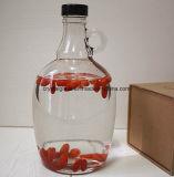 Bottiglia di vino di vetro di grande capacità con il coperchio e la maniglia