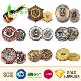 中国の卸し売りカスタム金属は打たれた二重味方された3D旧式な黄銅によってめっきされるフリーメーソンの挑戦硬貨を停止する