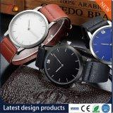 Design de moda Round tira de couro PU simples relógio de pulso para homens