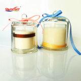 100% de vela de cera de soja no copo de vidro perfumada