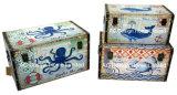 S/3 Antigüedades decorativas Vintage rectangular de diseño de Caracol la impresión de cuero de PU/almacenamiento de madera MDF cuadro Enlaces