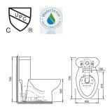 2016 tocadores de cerámica de la nueva del estilo de agua del armario trampa de la una sola pieza S con la certificación y el asiento cercano suave Ast309 del Upc