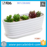 Cerâmica Branca Sulcados de hidromassagem Caixa de plantas de jardim do potenciômetro de Design
