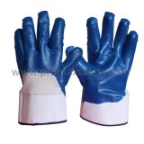 Перчатки голубого нитрила вкладыша хлопка Джерси Coated с сертификатом Ce