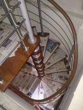 Venta caliente en la escalera espiral de madera de acero del europeo 360