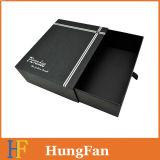 Custom lujo negro cajon deslizante Caja de regalo de papel con tintas UV Logo